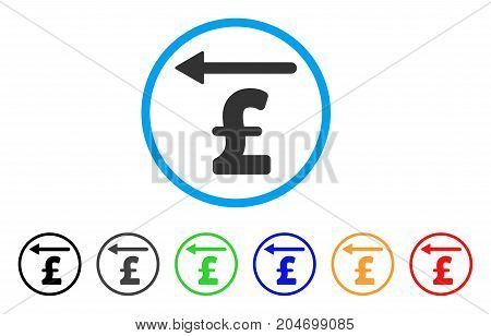 Pound Moneyback rounded icon. Style is a flat pound moneyback gray symbol inside light blue circle with black, gray, green, blue, red, orange versions. Vector designed for web and software interfaces.