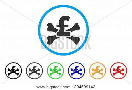 Pound Mortal Debt rounded icon. Style is a flat pound mortal debt grey symbol inside light blue circle with black, gray, green, blue, red, orange color versions.