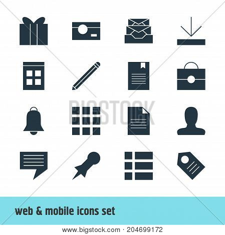 Editable Pack Of Bookmark, Grid, Notification And Other Elements.  Vector Illustration Of 16 Online Icons.