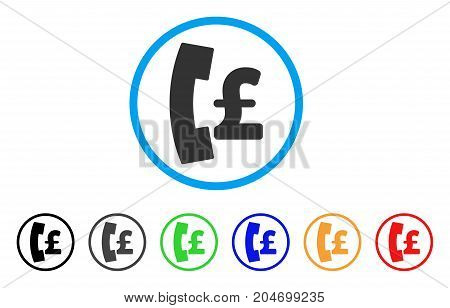 Pound Pay Phone rounded icon. Style is a flat pound pay phone gray symbol inside light blue circle with black, gray, green, blue, red, orange color versions.