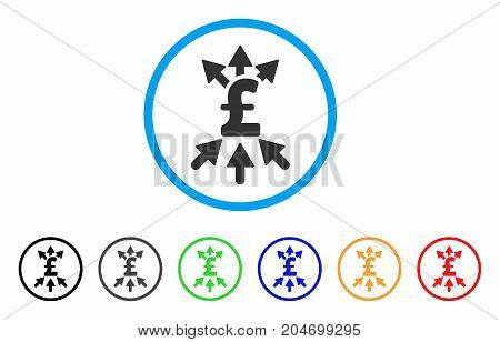 Pound Payment Broker rounded icon. Style is a flat pound payment broker gray symbol inside light blue circle with black, gray, green, blue, red, orange variants.
