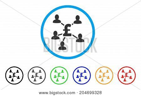 Pound Payment Clients rounded icon. Style is a flat pound payment clients gray symbol inside light blue circle with black, gray, green, blue, red, orange color versions.