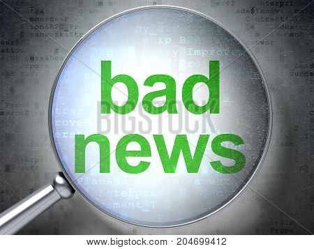 News concept: magnifying optical glass with words Bad News on digital background, 3D rendering