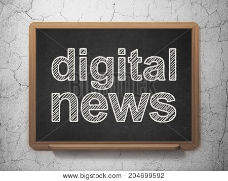 News concept: text Digital News on Black chalkboard on grunge wall background, 3D rendering