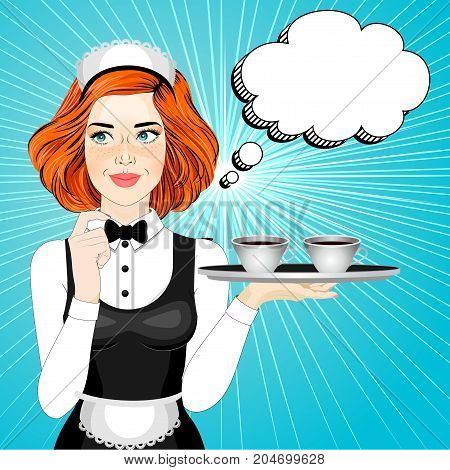 Waitress with a tray of tea or coffee. Thinking girl. Vector illustration of pop art comic style. Party invitation. Greeting card. Advertising poster. Pop Art girl