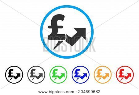 Pound Price Growth rounded icon. Style is a flat pound price growth gray symbol inside light blue circle with black, gray, green, blue, red, orange versions.
