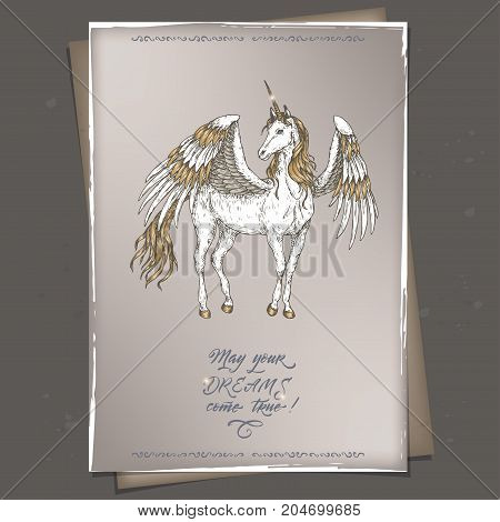 Romantic a4 format color vintage birthday card template with calligraphy and winged unicorn sketch. Great for holiday design.