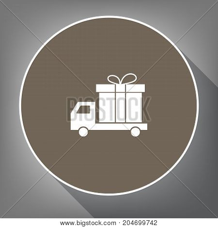 Delivery gift sign. Vector. White icon on brown circle with white contour and long shadow at gray background. Like top view on postament.