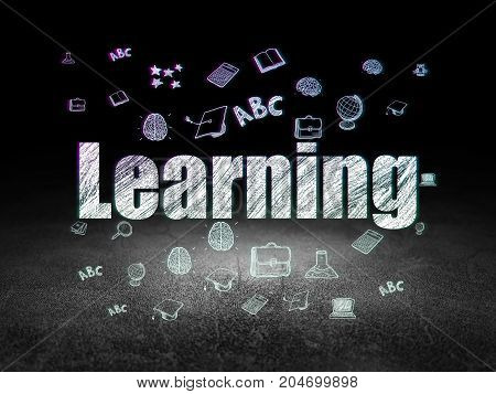 Learning concept: Glowing text Learning,  Hand Drawn Education Icons in grunge dark room with Dirty Floor, black background