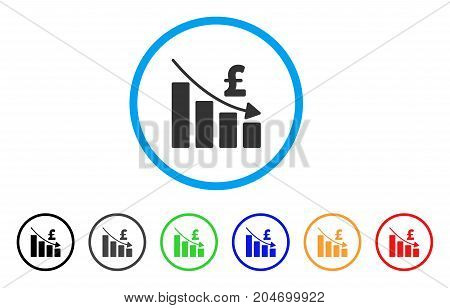 Pound Recession Bar Chart rounded icon. Style is a flat pound recession bar chart grey symbol inside light blue circle with black, gray, green, blue, red, orange variants.