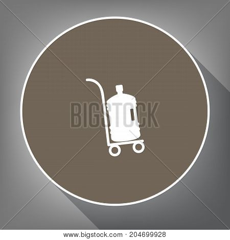 Plastic bottle silhouette with water. Big bottle of water on track. Vector. White icon on brown circle with white contour and long shadow at gray background. Like top view on postament.