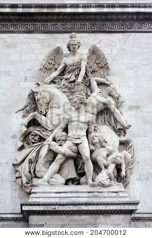 Sculpture on the Arch of Triumph, Paris - La Resistance de 1814, by Antoine Etex commemorates the French resistance to the Allied armies during the War of the Sixth Coalition.