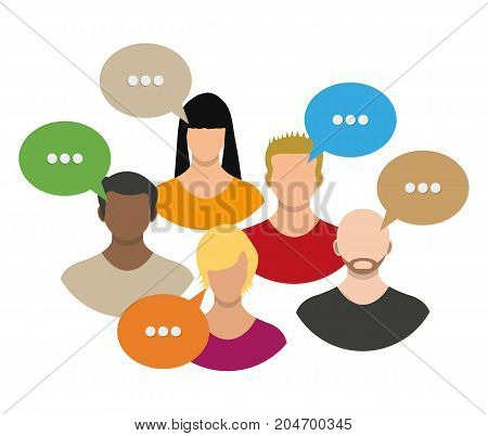 People avatar icons with dialog speech bubbles. Male and female faces avatars. Discussion group, people talking. Communication, chat, assistance. Vector illustration in flat style