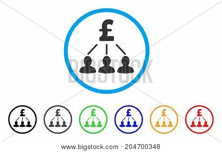 Pound Shareholders rounded icon. Style is a flat pound shareholders grey symbol inside light blue circle with black, gray, green, blue, red, orange variants.