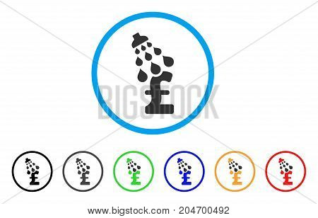 Pound Shower rounded icon. Style is a flat pound shower gray symbol inside light blue circle with black, gray, green, blue, red, orange variants. Vector designed for web and software interfaces.