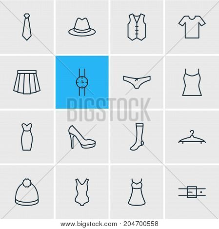 Editable Pack Of Pompom, Casual, Cloakroom And Other Elements.  Vector Illustration Of 16 Garment Icons.