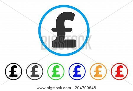 Pound Sterling rounded icon. Style is a flat pound sterling grey symbol inside light blue circle with black, gray, green, blue, red, orange color versions.