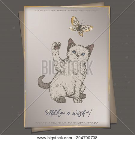 Romantic A4 format color vintage birthday card template with calligraphy, cat and and rose in vase. Great for holiday design.