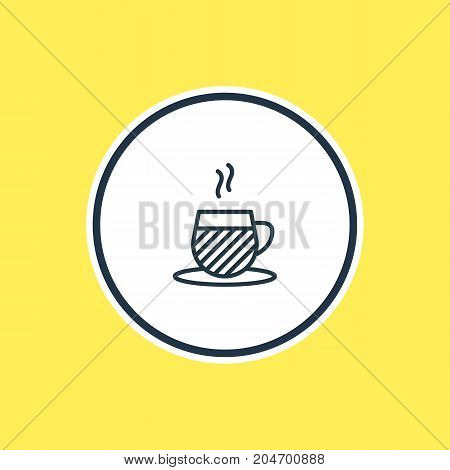 Beautiful Drinks Element Also Can Be Used As Tea Cup Element.  Vector Illustration Of Cappuccino Outline.