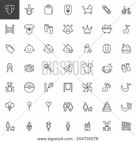 Baby shower line icons set, outline vector symbol collection, linear style pictogram pack. Signs, logo illustration. Set includes icons as nappy, pacifier, stroller, crib, romper, breastfeeding, rattle