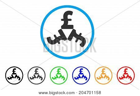 Pound Trinity rounded icon. Style is a flat pound trinity grey symbol inside light blue circle with black, gray, green, blue, red, orange variants. Vector designed for web and software interfaces.