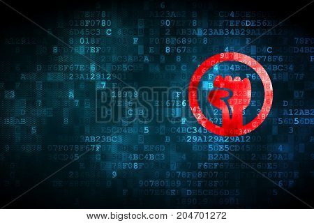 Politics concept: pixelated Uprising icon on digital background, empty copyspace for card, text, advertising