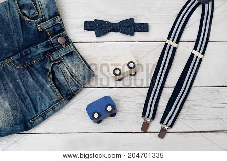 Kids clothes with toy car. kids fashion.
