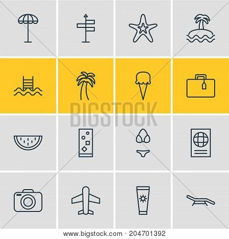 Editable Pack Of Swimming, Airplane, Swimwear And Other Elements.  Vector Illustration Of 16 Season Icons.