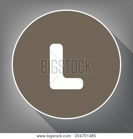 Letter L sign design template element. Vector. White icon on brown circle with white contour and long shadow at gray background. Like top view on postament.