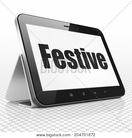 Holiday concept: Tablet Computer with black text Festive on display, 3D rendering
