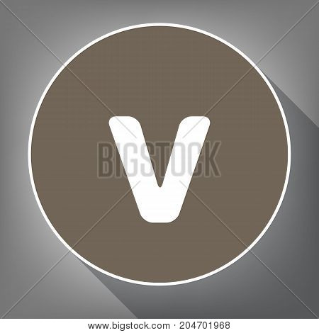 Letter V sign design template element. Vector. White icon on brown circle with white contour and long shadow at gray background. Like top view on postament.