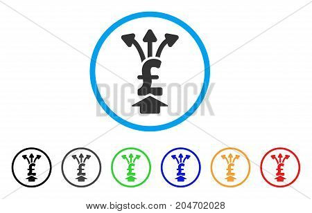 Share Pound rounded icon. Style is a flat share pound grey symbol inside light blue circle with black, gray, green, blue, red, orange color versions. Vector designed for web and software interfaces.