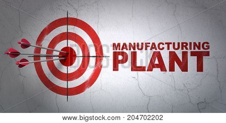Success Manufacuring concept: arrows hitting the center of target, Red Manufacturing Plant on wall background, 3D rendering