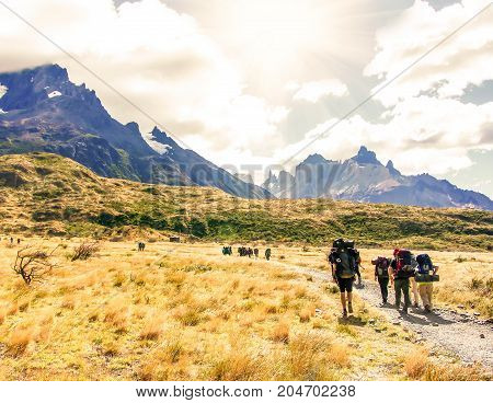 Group of  hikers with backpacks walk along a trail towards a mountain ridge.Backpackers and hikers style. Concept of active leisure.