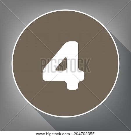 Number 4 sign design template element. Vector. White icon on brown circle with white contour and long shadow at gray background. Like top view on postament.