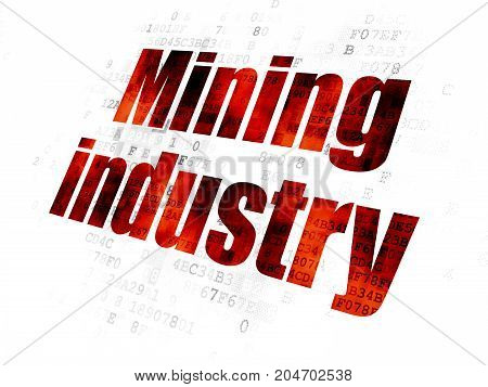 Industry concept: Pixelated red text Mining Industry on Digital background