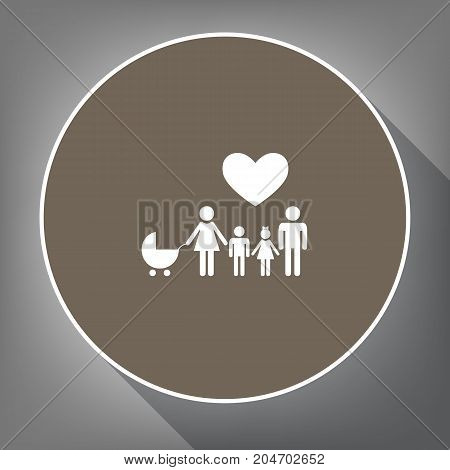 Family sign with heart. Husband and wife are kept children's hands. Vector. White icon on brown circle with white contour and long shadow at gray background. Like top view on postament.
