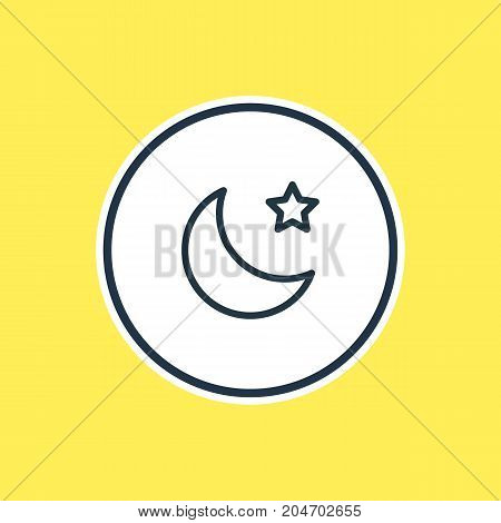 Beautiful Constellation Element Also Can Be Used As Night Element.  Vector Illustration Of Moon Outline.