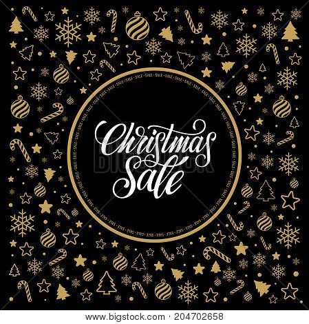Christmas sale design template. Icon set pattern. Vector illustration