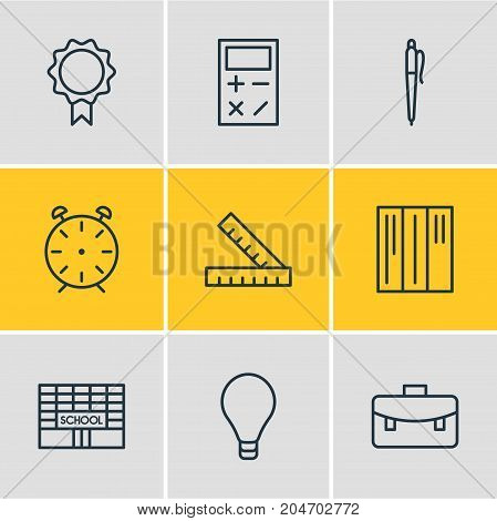 Editable Pack Of Pencil, School, Meter And Other Elements.  Vector Illustration Of 9 Studies Icons.