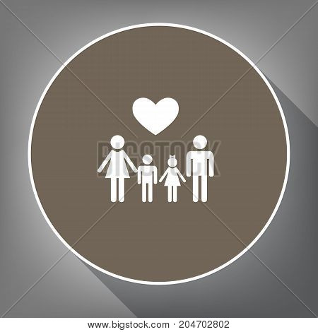 Family symbol with heart. Husband and wife are kept children's hands. Vector. White icon on brown circle with white contour and long shadow at gray background. Like top view on postament.