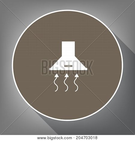 Exhaust hood. Range hood. Kitchen ventilation sign. Vector. White icon on brown circle with white contour and long shadow at gray background. Like top view on postament.
