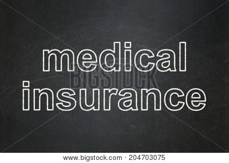 Insurance concept: text Medical Insurance on Black chalkboard background