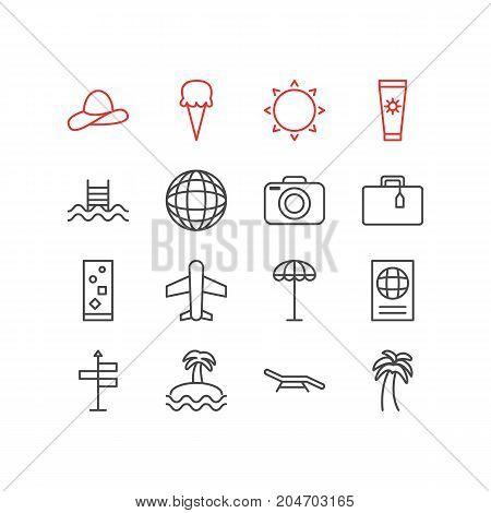 Editable Pack Of Longue, Airplane, Earth And Other Elements.  Vector Illustration Of 16 Season Icons.