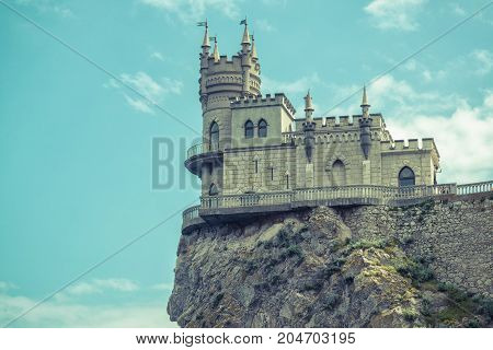 The castle Swallow's Nest on the rock in the Black Sea in Crimea, Russia. This castle is a symbol of Crimea.