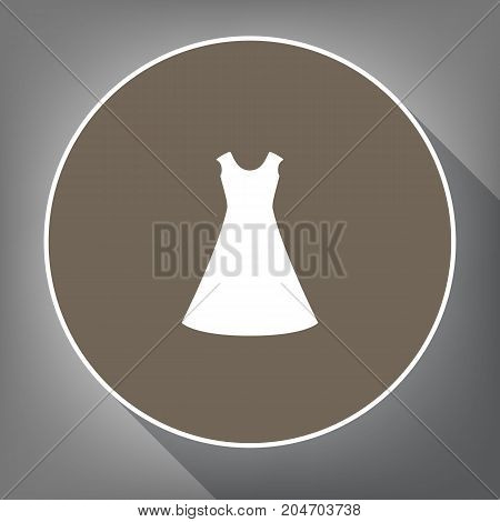 Beautiful long dress sign. Vector. White icon on brown circle with white contour and long shadow at gray background. Like top view on postament.