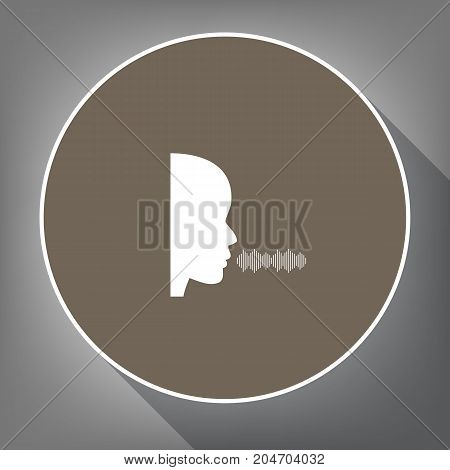 People speaking or singing sign. Vector. White icon on brown circle with white contour and long shadow at gray background. Like top view on postament.