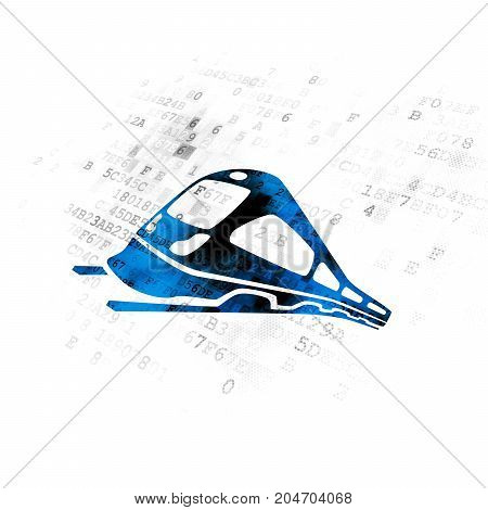 Tourism concept: Pixelated blue Train icon on Digital background