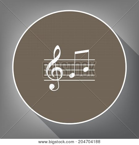 Music violin clef sign. G-clef and notes G, H. Vector. White icon on brown circle with white contour and long shadow at gray background. Like top view on postament.