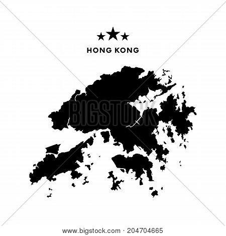 Hong Kong map. Stars and text. Vector illustration.
